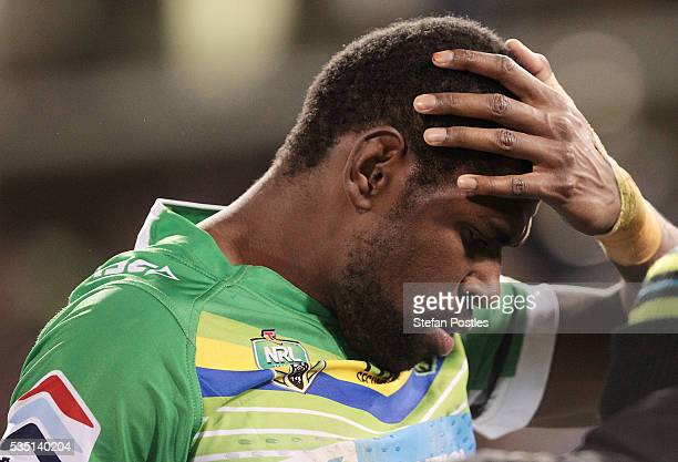 Edrick Lee of the Raiders comes off injured during the round 12 NRL match between the Canberra Raiders and the Canterbury Bulldogs at GIO Stadium on...