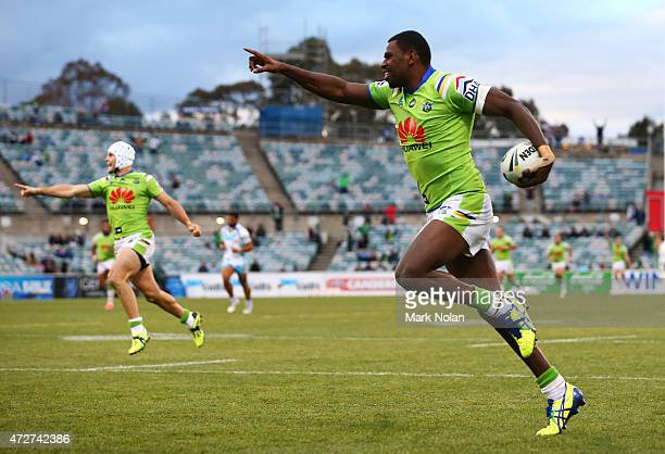 Edrick Lee of the Raiders crosses for a try during the round nine NRL match between the Canberra Raiders and the GOld Coast Titans at GIO Stadium on...