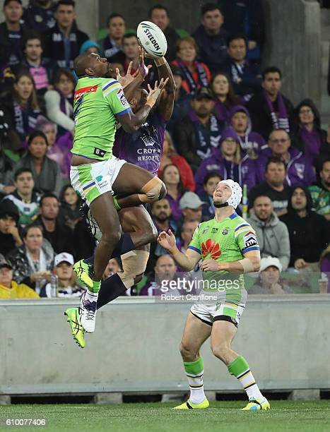 Edrick Lee of the Raiders fails to hold the ball during the NRL Preliminary Final match between the Melbourne Storm and the Canberra Raiders at AAMI...