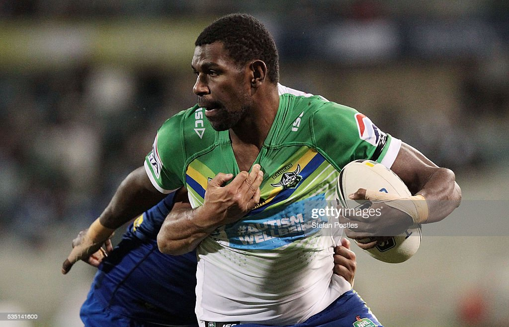 Edrick Lee of the Raiders is tackled during the round 12 NRL match between the Canberra Raiders and the Canterbury Bulldogs at GIO Stadium on May 29, 2016 in Canberra, Australia.