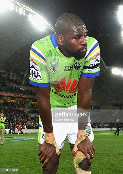 Edrick Lee of the Raiders looks dejected after losing the NRL Preliminary Final match between the Melbourne Storm and the Canberra Raiders at AAMI...