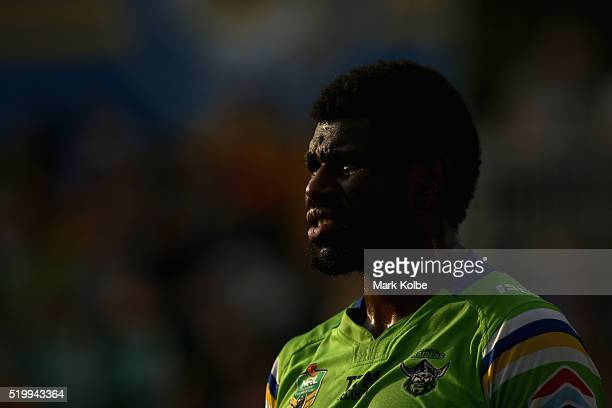 Edrick Lee of the Raiders watches on during the round six NRL match between the Parramatta Eels and the Canberra Raiders at Pirtek Stadium on April 9...