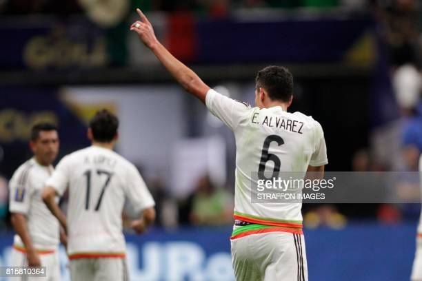 Edson Alvarez of Mexico celebrates after scoring the second goal of his team during a Group C match between Mexico and Curacao as part of CONCACAF...
