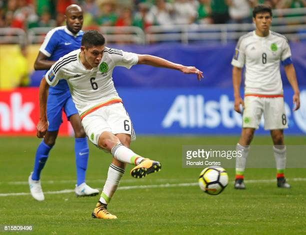 Edson Alvarez of Mexico score his goal in the second half during the 2017 CONCACAF Gold Cup at Alamodome on July 16 2017 in San AntonioTexas