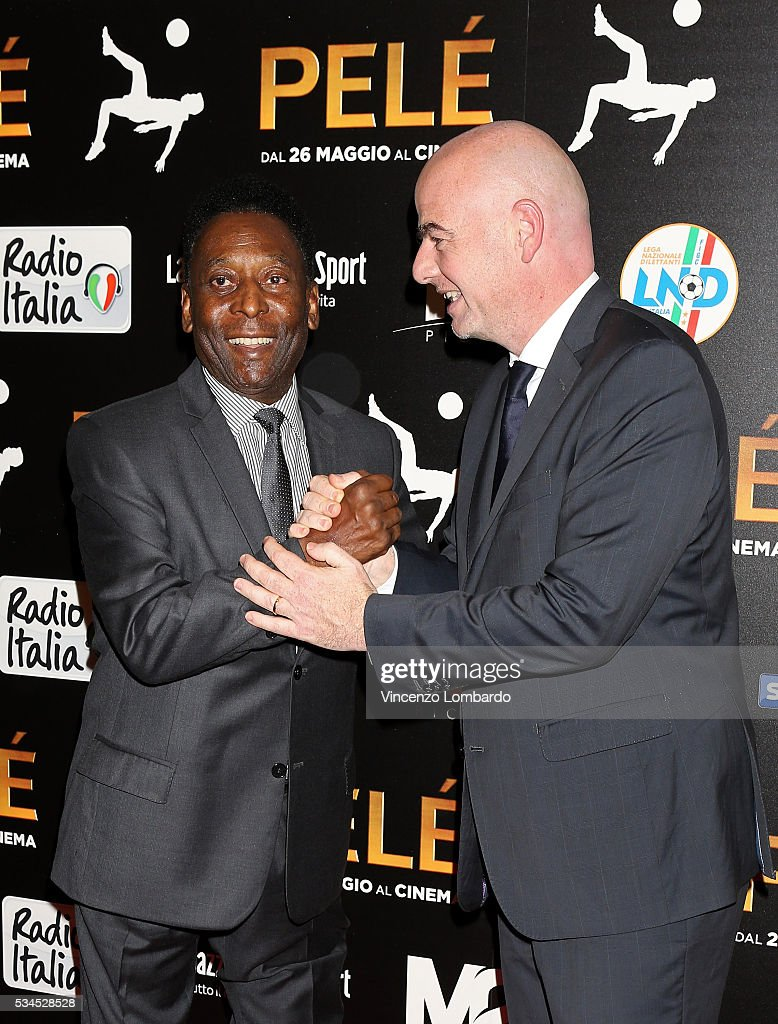 Edson Arantes do Nascimento aka Pele and <a gi-track='captionPersonalityLinkClicked' href=/galleries/search?phrase=Gianni+Infantino&family=editorial&specificpeople=5637052 ng-click='$event.stopPropagation()'>Gianni Infantino</a> attend the 'Pele' Red Carpet In Milan on May 26, 2016 in Milan, Italy.