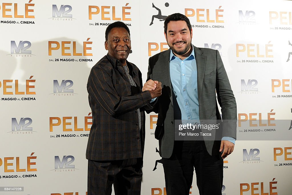 Edson Arantes do Nascimento aka Pele and Ivan Orlic attend the 'Pele' photocall on May 25, 2016 in Milan, Italy.