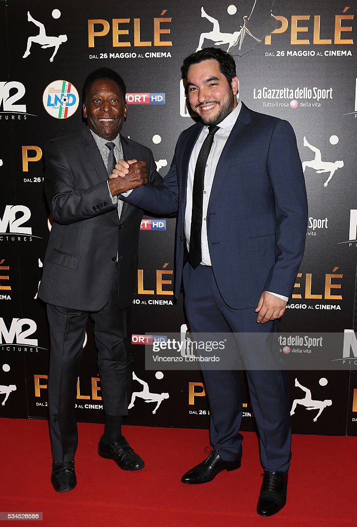 Edson Arantes do Nascimento aka Pele and Ivan Orlic attend the 'Pele' Red Carpet In Milan on May 26, 2016 in Milan, Italy.