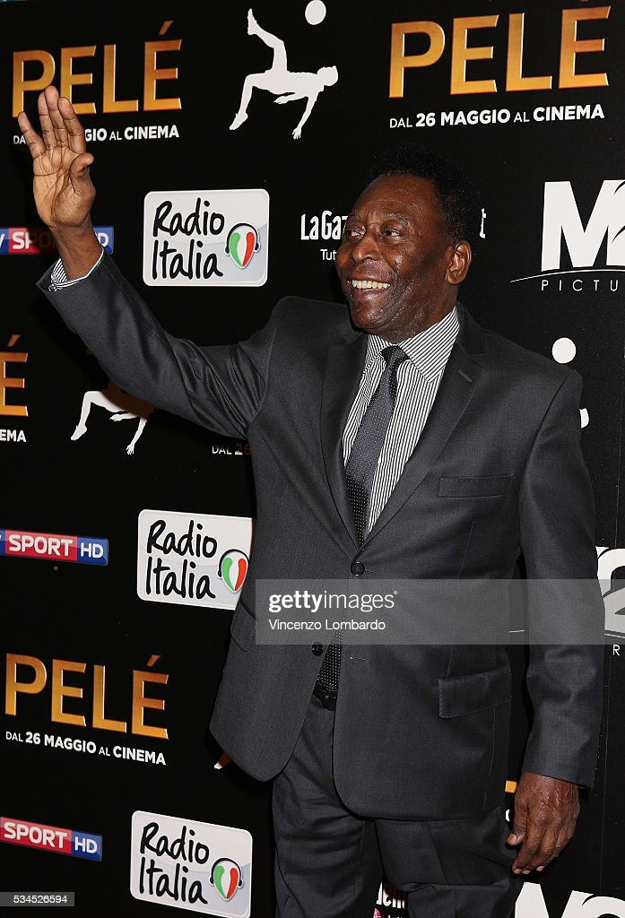 Edson Arantes do Nascimento aka Pele attends the 'Pele' Red Carpet In Milan on May 26, 2016 in Milan, Italy.