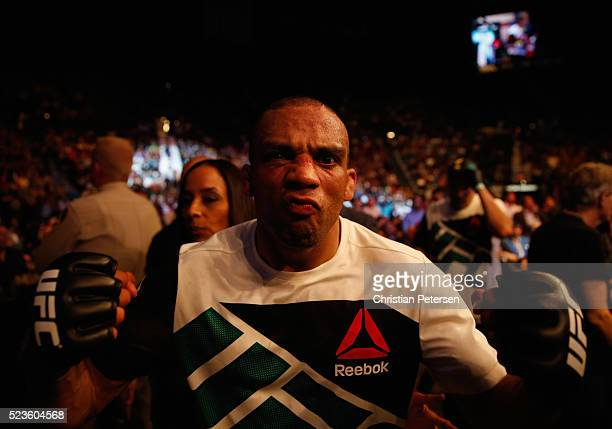 Edson Barboza exits the Octagon after his victory over Anthony Pettis in their lightweight bout during the UFC 197 event inside MGM Grand Garden...