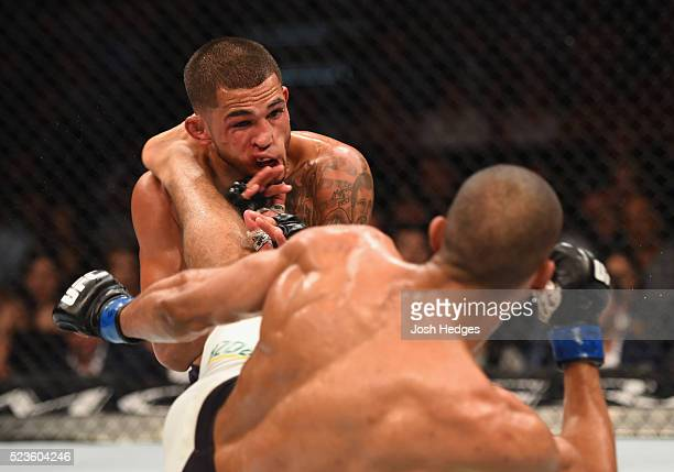 Edson Barboza kicks Anthony Pettis in their lightweight bout during the UFC 197 event inside MGM Grand Garden Arena on April 23 2016 in Las Vegas...