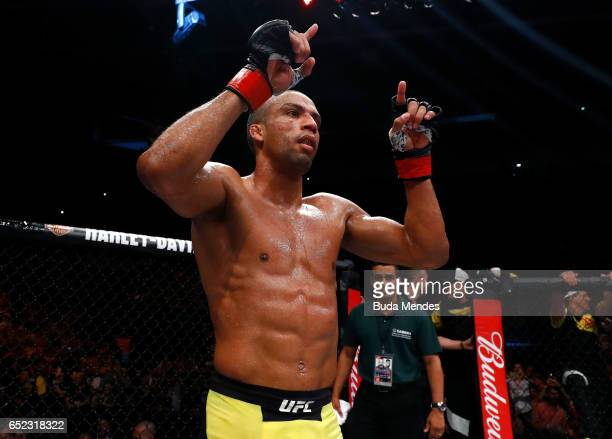 Edson Barboza of Brazil celebrates after his knockout victory over Beneil Dariush of Iran in their lightweight bout during the UFC Fight Night event...