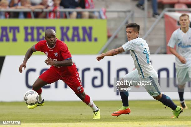 Edson Braafheid of FC Utrecht Sebastian Driussi of FC Zenit during the UEFA Europa League fourth round qualifying first leg match between FC Utrecht...