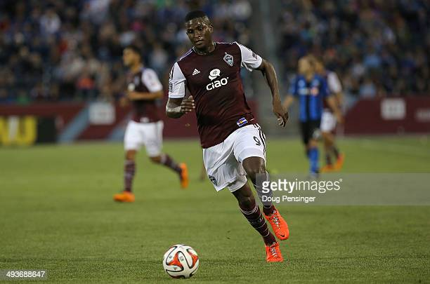 Edson Buddle of the Colorado Rapids controls the ball against the Montreal Impact at Dick's Sporting Goods Park on May 24 2014 in Commerce City...