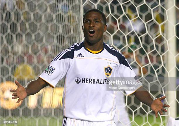 Edson Buddle of the Los Angeles Galaxy celebrates his first half goal against Chivas USA during their MLS match at the Home Depot Center on April 1...