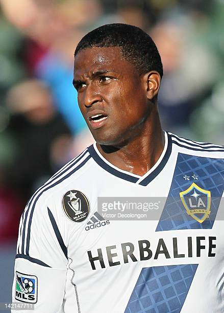 Edson Buddle of the Los Angeles Galaxy looks on during the MLS match against DC United at The Home Depot Center on March 18 2012 in Carson California...