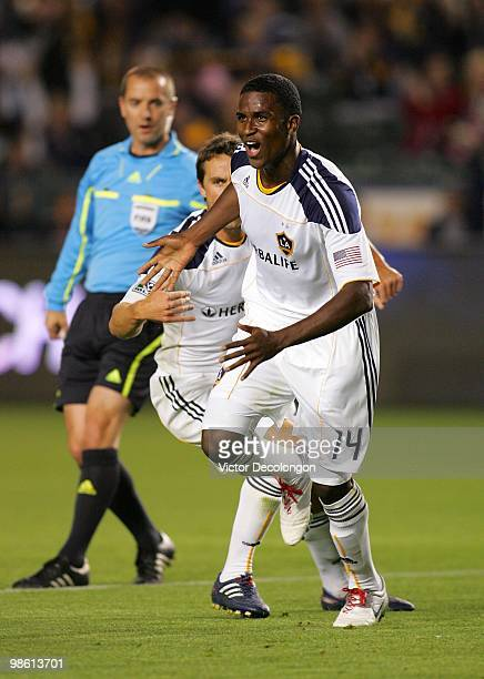 Edson Buddle of the Los Angeles Galaxy reacts after scoring his first half goal against Real Salt Lake in their MLS match at the Home Depot Center on...