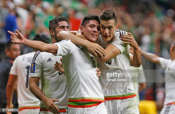 Edson Álvarez of Mexico is congratulated by Cesar Montes of Mexico after his goal against Curaco in the second half during the 2017 CONCACAF Gold Cup...