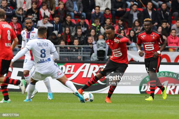 Edson Mexer of Rennes and Corentin Tolisso of Lyon during the French Ligue 1 match between Rennes and Lyon at Roazhon Park on April 2 2017 in Rennes...