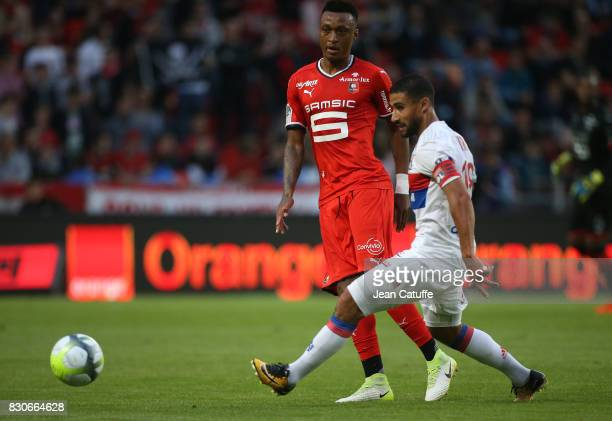 Edson Mexer of Stade Rennais and Nabil Fekir of Lyon during the French Ligue 1 match between Stade Rennais and Olympique Lyonnais at Roazhon Park on...