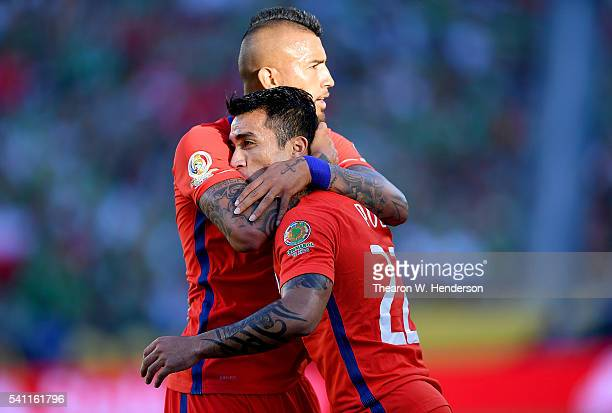 Edson Puch and Arturo Vidal of Chile celebrate after Puch scored a goal against Mexico during the 2016 Copa America Centenario Quarterfinals match...