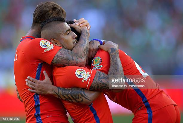 Edson Puch Arturo Vidal and Eduardo Vargas of Chile celebrate after Puch scored a goal against Mexico during the 2016 Copa America Centenario...