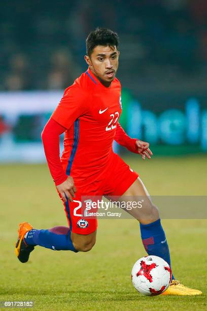 Edson Puch of Chile drives the ball during a match between Chile and Burkina Faso as part of an International Friendly at Nacional Julio Martinez...