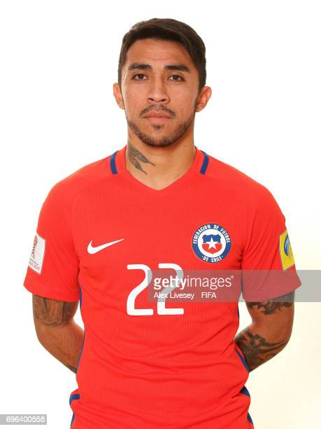Edson Puch of Chile during a portrait session ahead of the FIFA Confederations Cup Russia 2017 at the Crowne Plaza Hotel on June 15 2017 in Moscow...