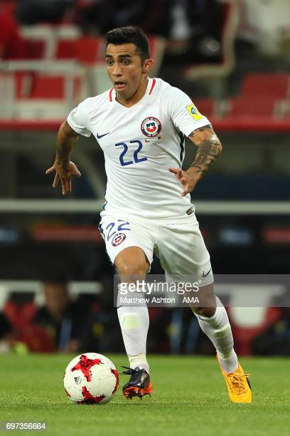 Edson Puch of Chile in action during the FIFA Confederations Cup Russia 2017 Group B match between Cameroon and Chile at Spartak Stadium on June 18...