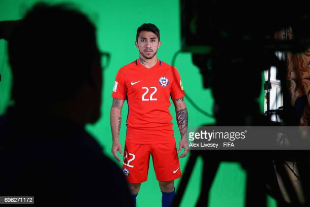 Edson Puch of Chile is seen behind the scenes during a filming session ahead of the FIFA Confederations Cup Russia 2017 at the Crowne Plaza Hotel on...