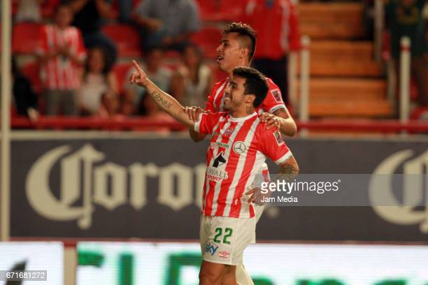 Edson Puch of Necaxa celebreates after scoring his team's first goal during the 15th round match between Necaxa and Morelia as part of the Torneo...