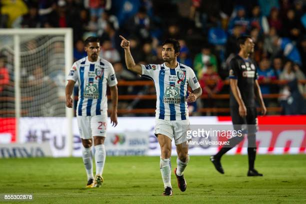 Edson Puch of Pachuca celebrates after scoring his team's first goal during the 11th round match between Pachuca and Cruz Azul as part of the Torneo...