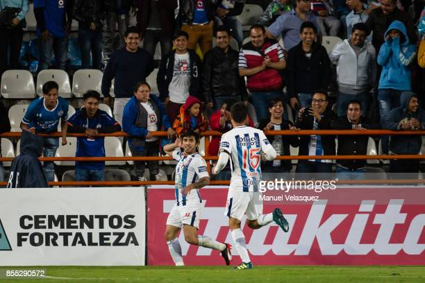 Edson Puch of Pachuca celebrates after scoring the first goal of his team during the 11th round match between Pachuca and Cruz Azul as part of the...