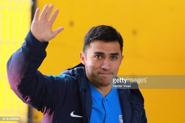 Edson Puch of Pachuca greets the audience during a press conference to unveil Pachuca's new signings at Universidad del Futbol y Ciencias del Deporte...