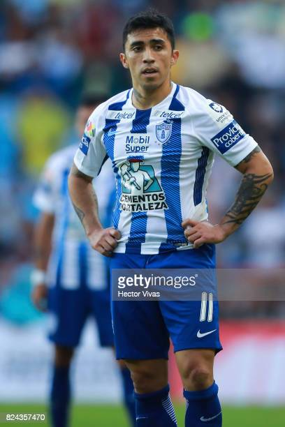 Edson Puch of Pachuca reacts during the 2nd round match between Pachuca and America as part of the Torneo Apertura 2017 Liga MX at Hidalgo Stadium on...