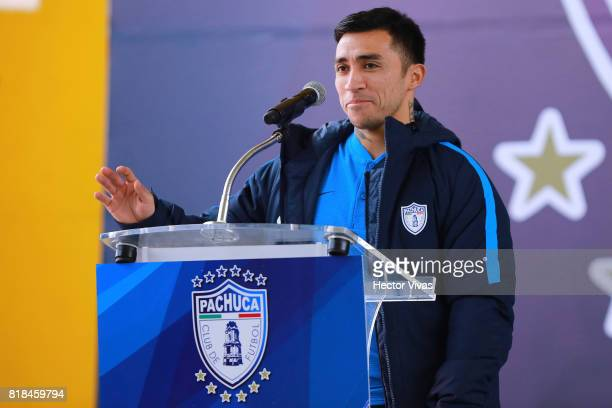 Edson Puch of Pachuca speaks during a press conference to unveil Keisuke Honda as new player of Pachuca at Hidalgo Stadium on July 18 2017 in Pachuca...