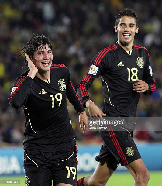 Edson Rivera from Mexico celebrates the third goal of his team during a match between Mexico and Portugal as part of the third place playoff as part...