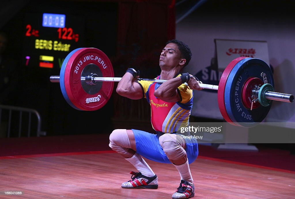 Eduar Beris of Venezuela B competes in the Men's 56kg during day one of the 2013 Junior Weightlifting World Championship at Maria Angola Convention Center on April 04, 2013 in Lima, Peru.
