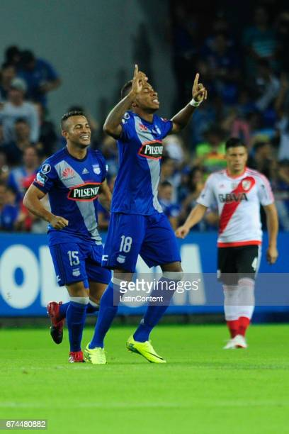 Eduar Preciado of Emelec celebrates his first score during a group stage match between Emelec and River Plate as part of Copa CONMEBOL Libertadores...