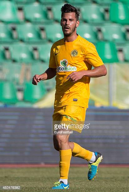 Eduard Oriol of AEL Limassol in action during the Cypriot First Division match AEL Limassol FC and APOEL FC at the Tsirion Stadium on May 17 2014 in...