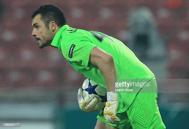 03 Eduard Stancioiu goalkeeper of Cluj saves the ball during the UEFA Champions League group E match between CFR 1907 Cluj and FC Bayern Muenchen at...