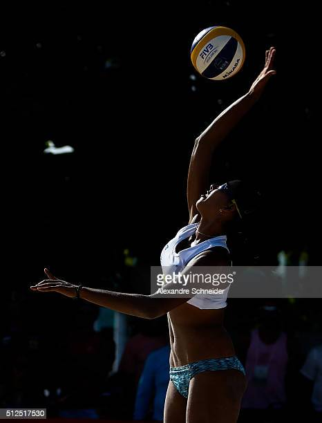 Eduarda Lisboa of Brazil competes in the main draw match against Brazil at Pajucara beach during day four of the FIVB Beach Volleyball World Tour...