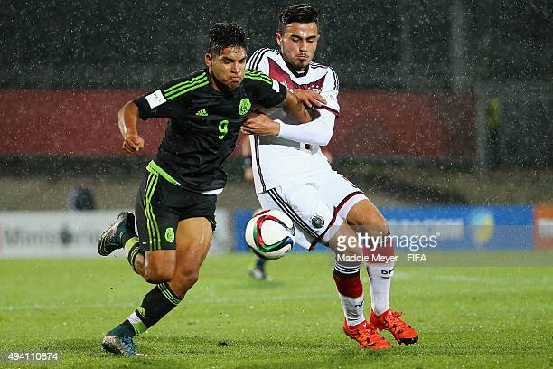 Eduardo Aguirre of Mexico and Erdinc Karakas of Germany vie for control of the ball during the FIFA U17 World Cup Chile 2015 Group C match between...