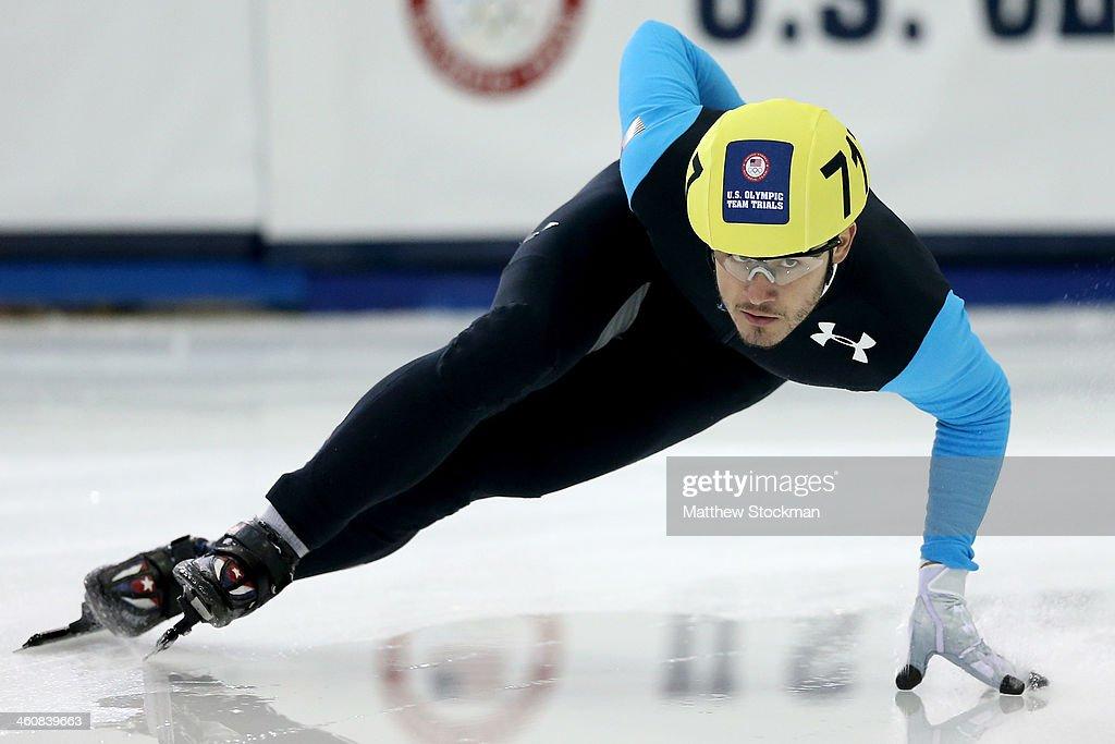 Eduardo Alvarez #717 skates in the second men's 1,000 meter semifinal during the U.S. Olympic Short Track Trials at the Utah Olympic Oval on January 5, 2014 in Salt Lake City, Utah.