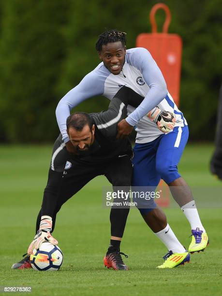 Eduardo and Michy Batshuayi of Chelsea during a training session at Chelsea Training Ground on August 10 2017 in Cobham England