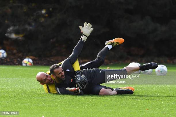 Eduardo and Willy Caballero of Chelsea during a training session at Chelsea Training Ground on October 20 2017 in Cobham United Kingdom