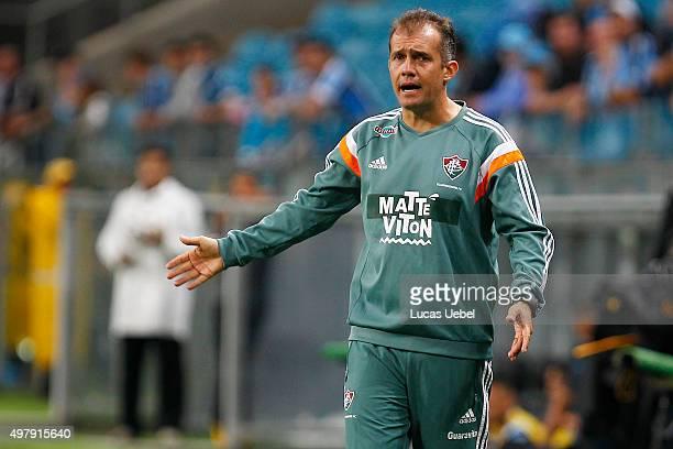 Eduardo Baptista coach of Fluminense during the match Gremio v Fluminense as part of Brasileirao Series A 2015 at Arena do Gremio on November 19 2015...