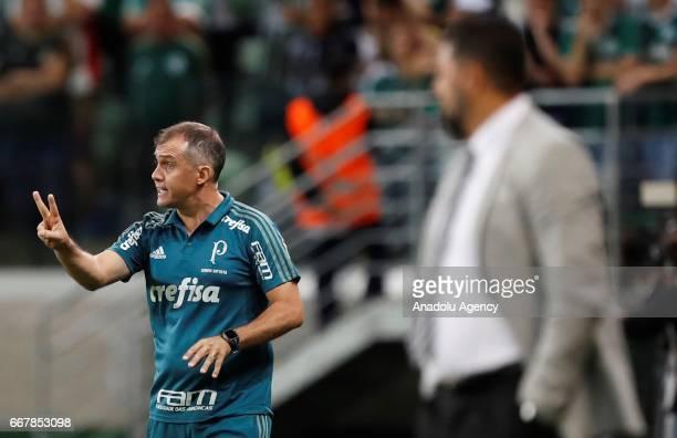 Eduardo Baptista head coach of Brazil's Palmeiras in action during Libertadores Cup match between Palmeiras and Penarol at Allianz Parque stadium in...