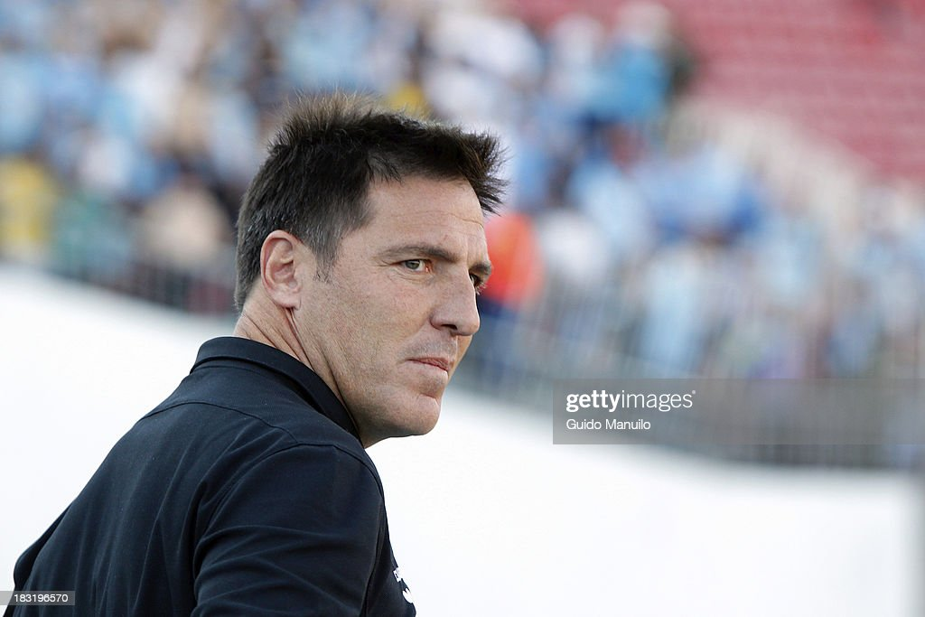 Eduardo Berizzo coach of O'Higgins reacts during a match between O'Higgins and U de Chile as part of the Torneo Apertura at National Stadium, on October 05, 2013 in Santiago, Chile.