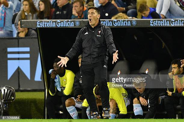 Eduardo Berizzo head coach of RC Celta reacts during the La Liga match between Real Club Celta de Vigo and Futbol Club Barcelona at the Balaidos...