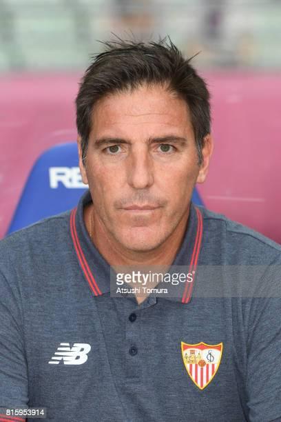 Eduardo Berizzo head coach of Sevilla FC looks on during the preseason friendly match between Cerezo Osaka and Sevilla FC at Yanmar Stadium Nagai on...